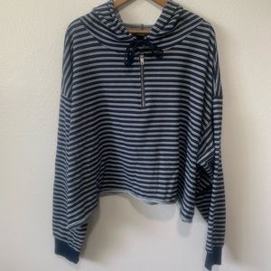Wild Fable Navy/White Striped Crop Hoodie